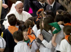 Pope Francis among children